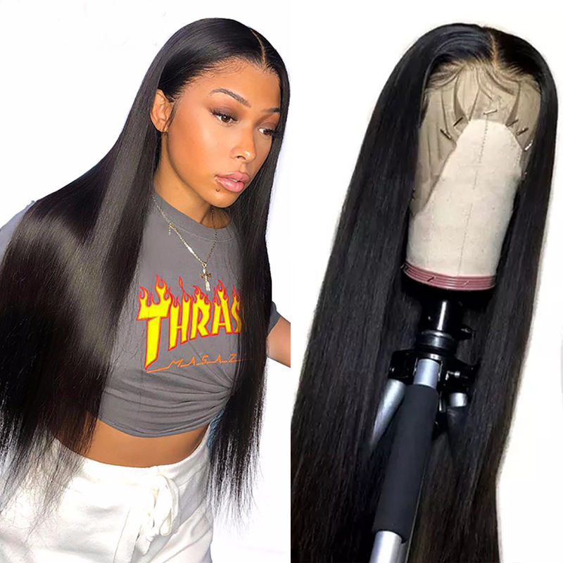 180% Density Human Lace Front Wigs 10A Grade Silky Straight Pre Plucked 13x4 13x6 Transparent Frontal Raw Indian Hair Wig