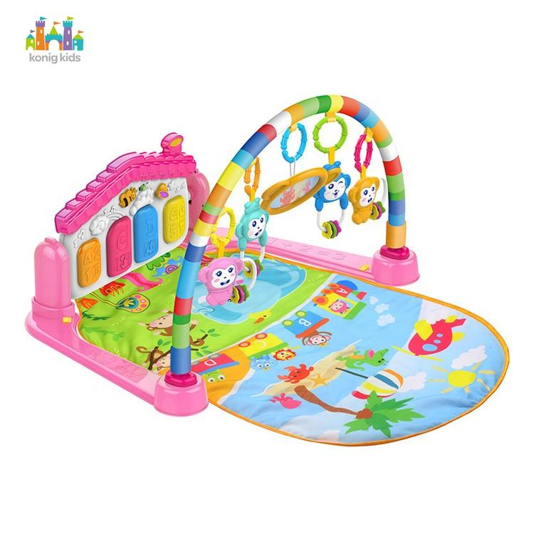 Wholesale infant activity gym play toy musical baby play piano carpet baby play gym mat with rattle