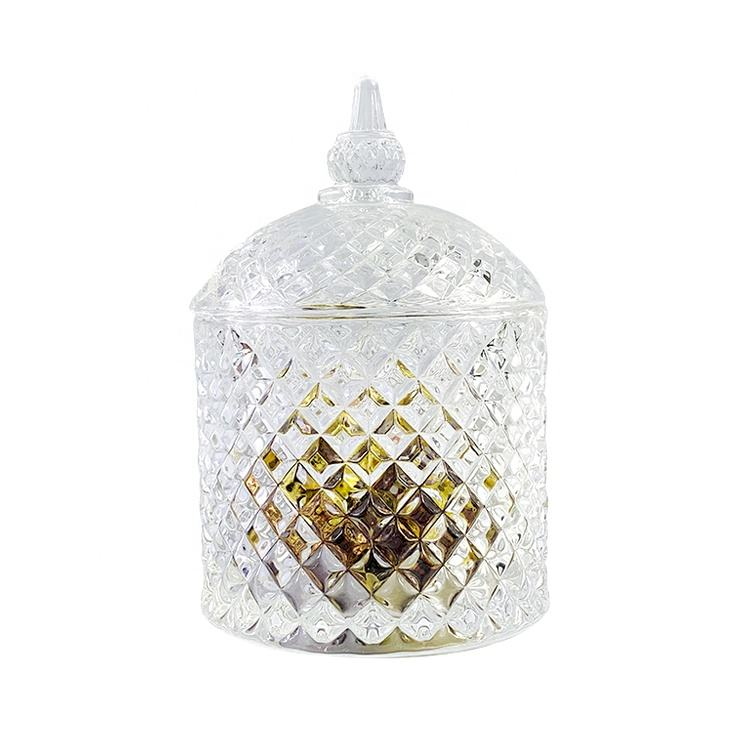 Cheap Hot Sale Unique Shape Handmade Glass Footed Candy Jar With Lid