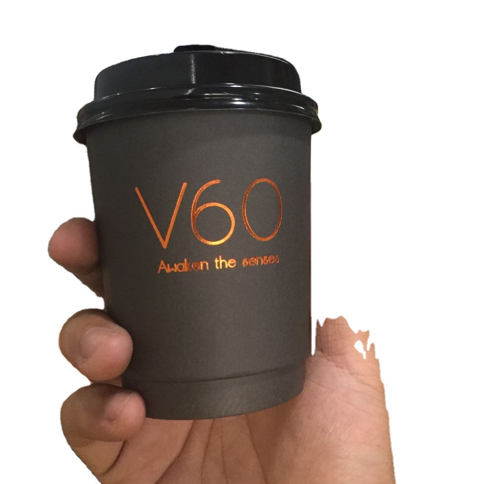 Disposable all black inside Sleeve Compostable branded custom logo stamping Double wall Coffee Paper Cups with lids