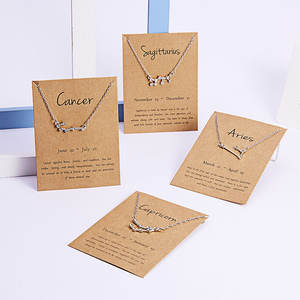 Rvs 12 Constellation Sign Hangers Link Chain Charm Choker Astrologie Constell Rhinestone Diamond Zodiac Ketting