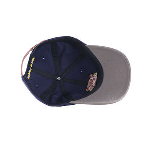 Custom Twee Kleur Embroid Logo Navy Blue Cap Met Metalen Gesp Baseball Hoed