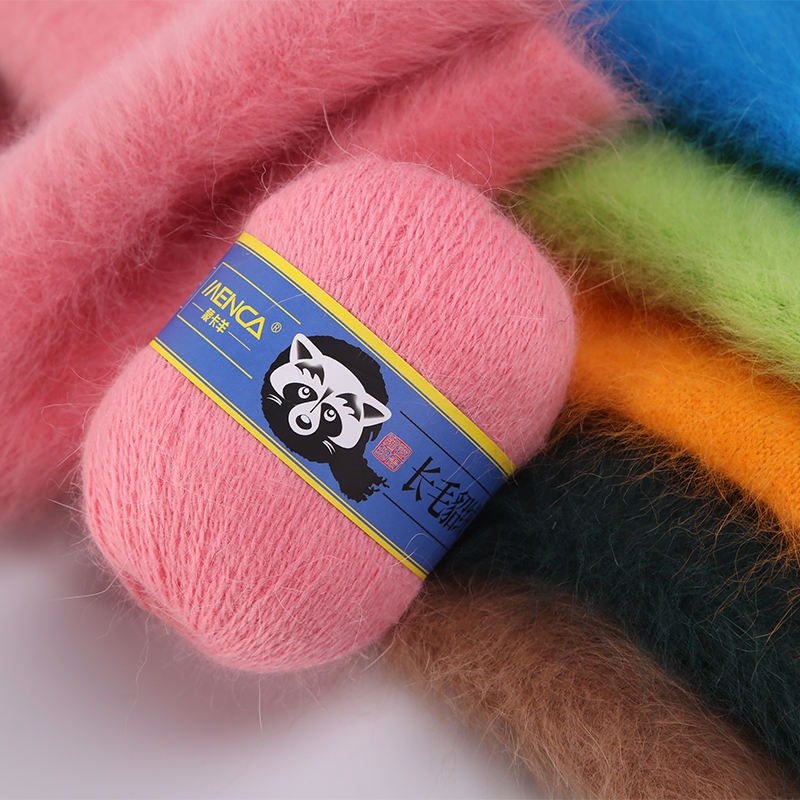 Wholesale Mink Yarn for Women Scarf & Hat Hand-Knitting Yarns Wool blend Long hair mink cashmere yarn for ladies knit
