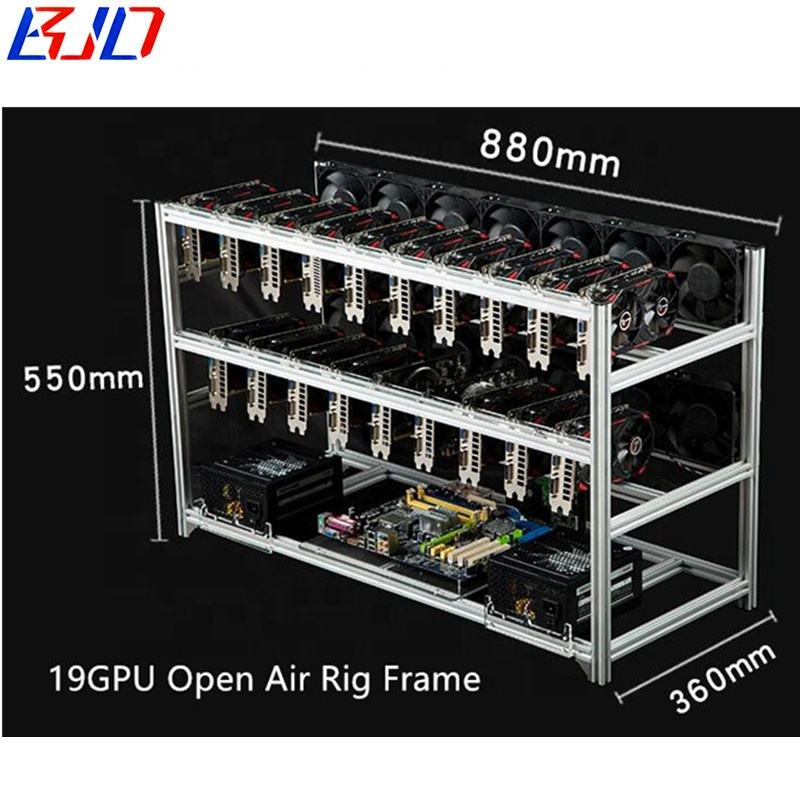 19 16 14 12 8 6 GPUs Open Air Rig Rack Aluminum Stackable Graphics Card Mining Rig Frame Case in stock