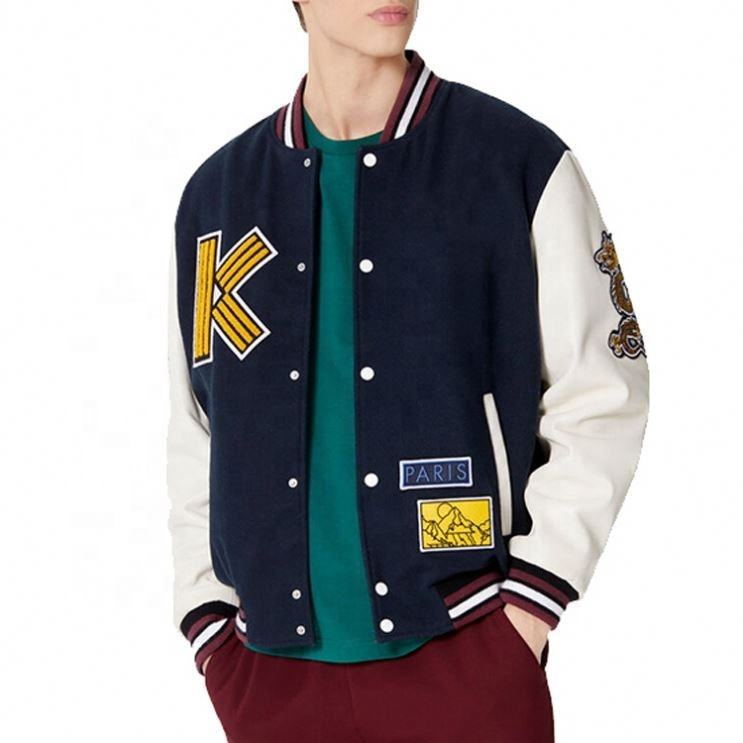 2020 Wholesale Custom Embroidered Chenille Patches Leather Sleeves Baseball College Jacket