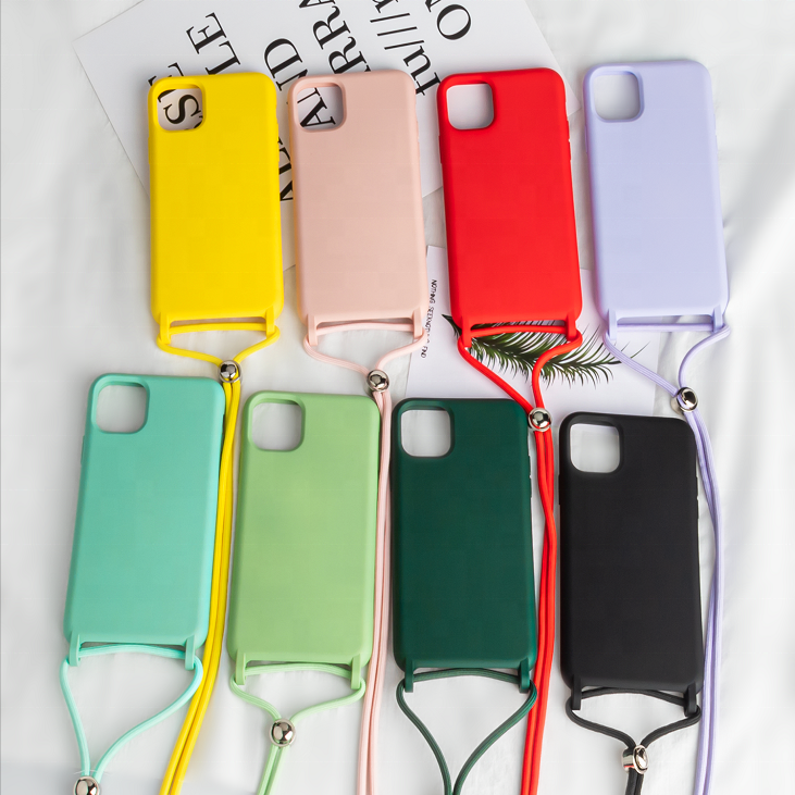 2020 neue Design Neck Strap Halskette Weiche TPU Handy Fall Für iPhone 11 XR XS Max