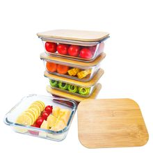 LeHe houseware glass food container set eco friendly lunch box meal prep containers with Knife and fork