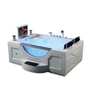 Whirlpool masaj SPA akrilik büyük küvet otel LED jet masaj 2 kişi taraflı etek banyo açık sıcak küvet