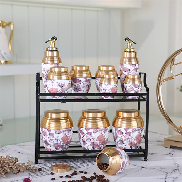 Amber High quality unique design kitchen 11pcs/lot porcelain spice jar ceramic canister set with metal stand