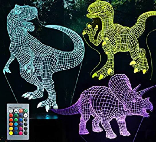 3 in 1 Creative 7 Color Changing 3D LED Flashing Dinosaur night light for boys