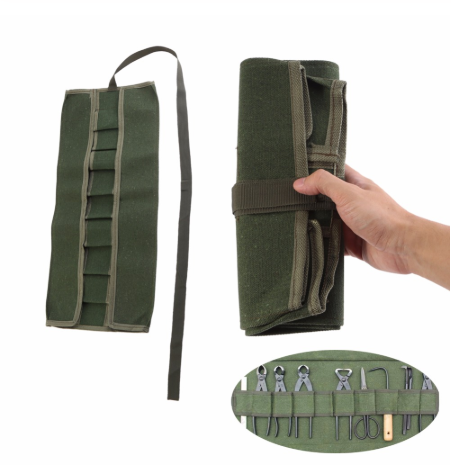 Tool Bag Oxford Canvas Chisel Roll Rolling Repairing Tool Utility Bag Multifunctional With Carrying Handles Garden Roll Bag Tool