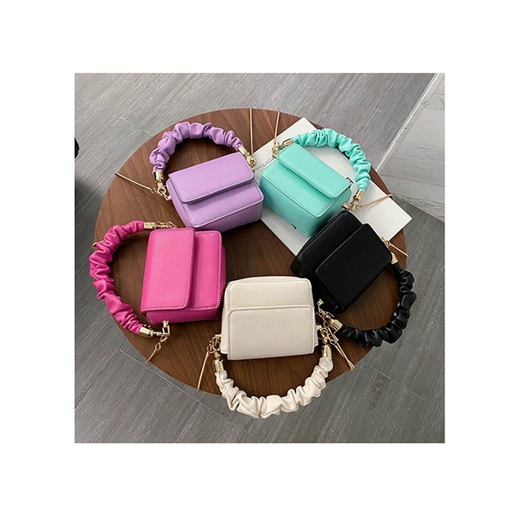 Super Mini Lipstick Bags 2020 Folds Strap Handle PU Leather Shoulder Bag For Women Summer Totes Handbags Solid Crossbody Bags