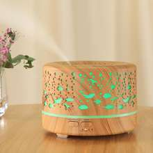 700ml Wood Grain Cool Mist Humidifier Ultrasonic Aroma Essential Oil Diffuser