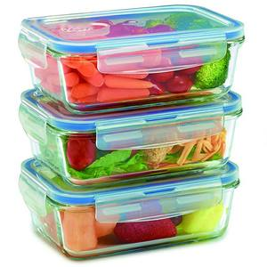 Heat resistant square glass food storage container set with locking lid