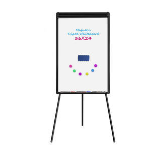 Tripod White Board Stand Black Magnetic Dry Erase Board Flip Chart With Stand For Home Office With Markers Eraser Magnets