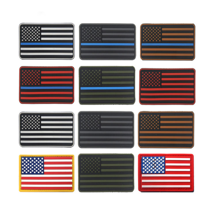 Custom American Military Thin Blue Line PVC Patches for Backpack/clothing/hat