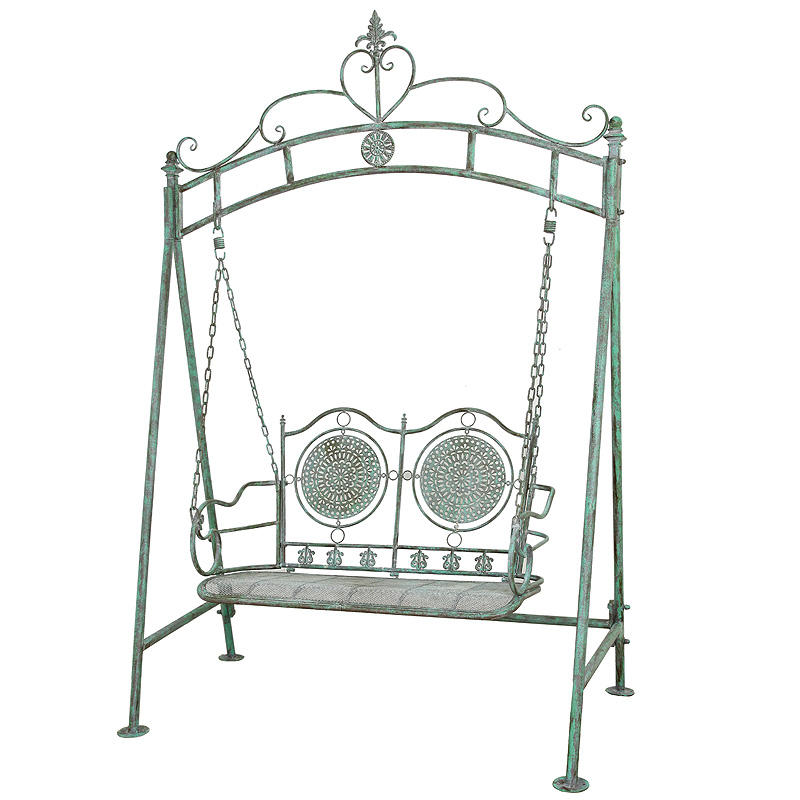 High Quality Vintage Wrought Iron Hanging Garden Outdoor Patio General Use Furniture Double Seat Comfortable Swing Chair