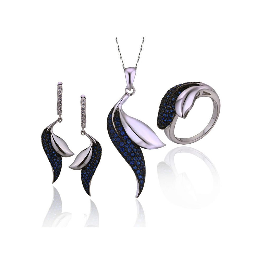 ss0026 wholesale leaf shape blue silver jewelry sets