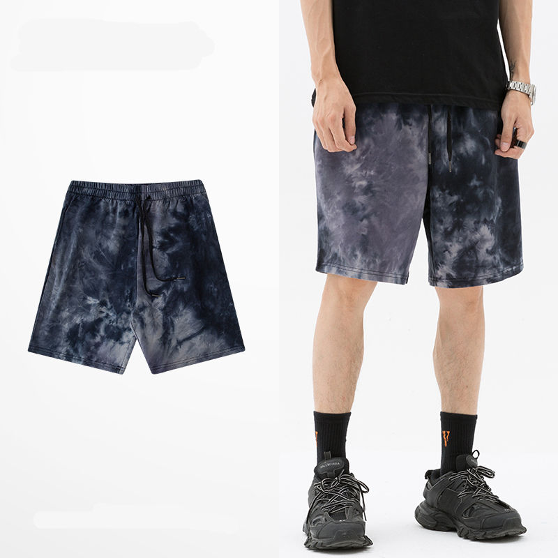 Wholesale Custom Drawstring 100 cotton tie dye shorts short pants mens