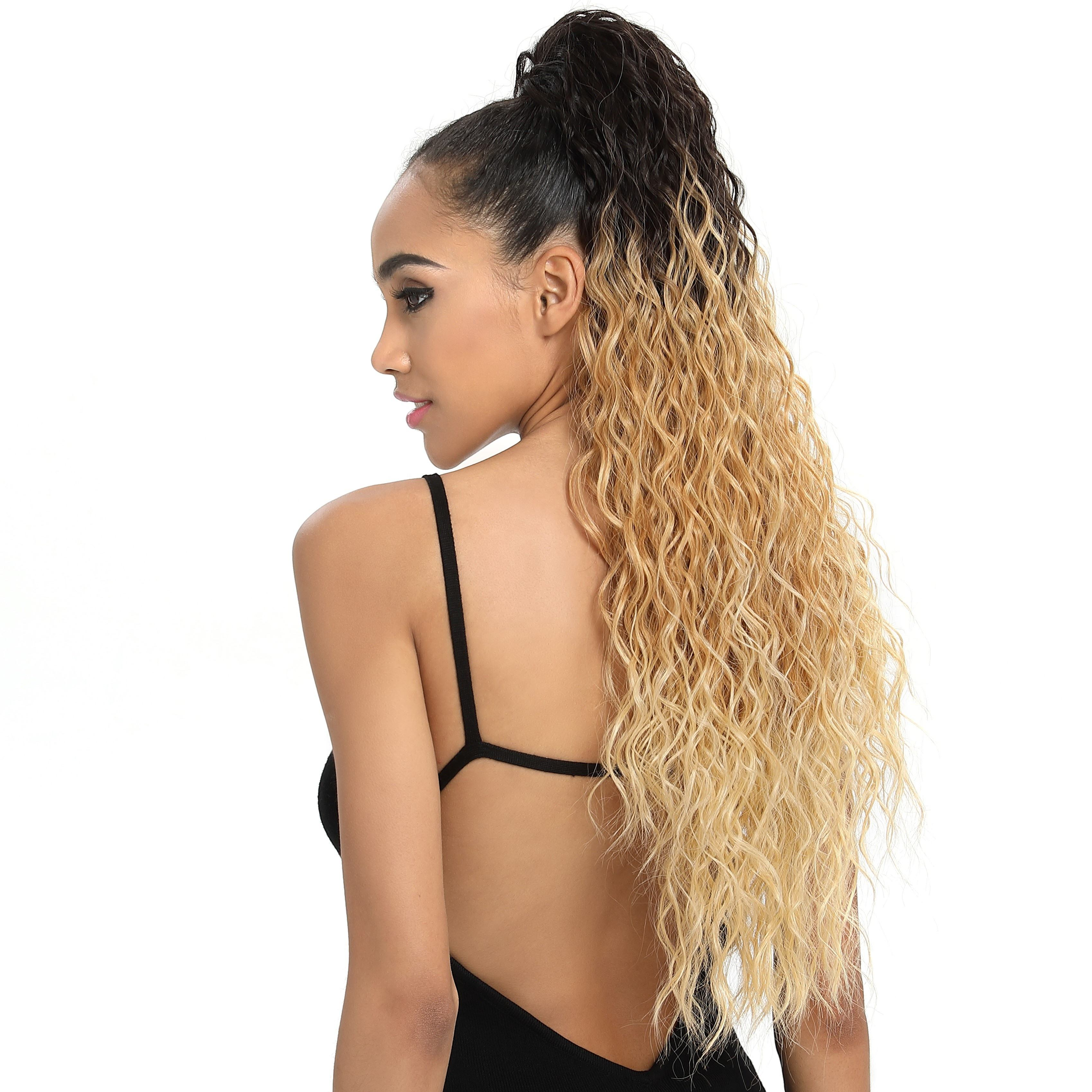 Sleek long water wave EZ pony clip in pieces net making synthetic afro kinky elastic ties holder hair extensions ponytail