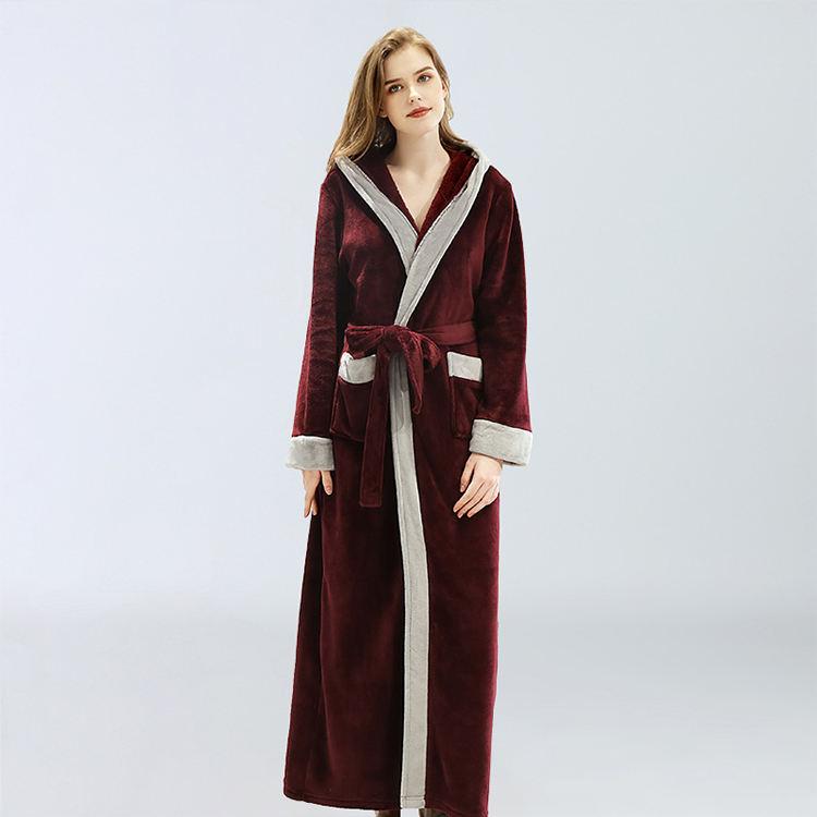 Luxury Blue Burgundy Women Men Thermal Coral Fleece Dressing Gowns Bath Robes
