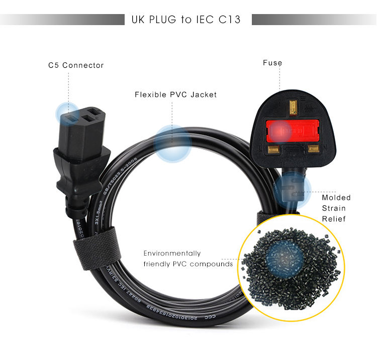 3 Prong UK Fused Plug To IEC C13 Power Cord BS1363 Standard Cable 3 Pin Flat Electrical Plug With Connector