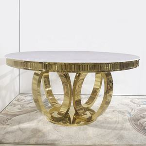 round golden stainless steel wedding table