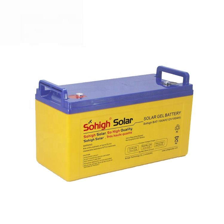 12v 100ah Solar gel Battery yellow color design deep cycle sohigh quality for solar power system