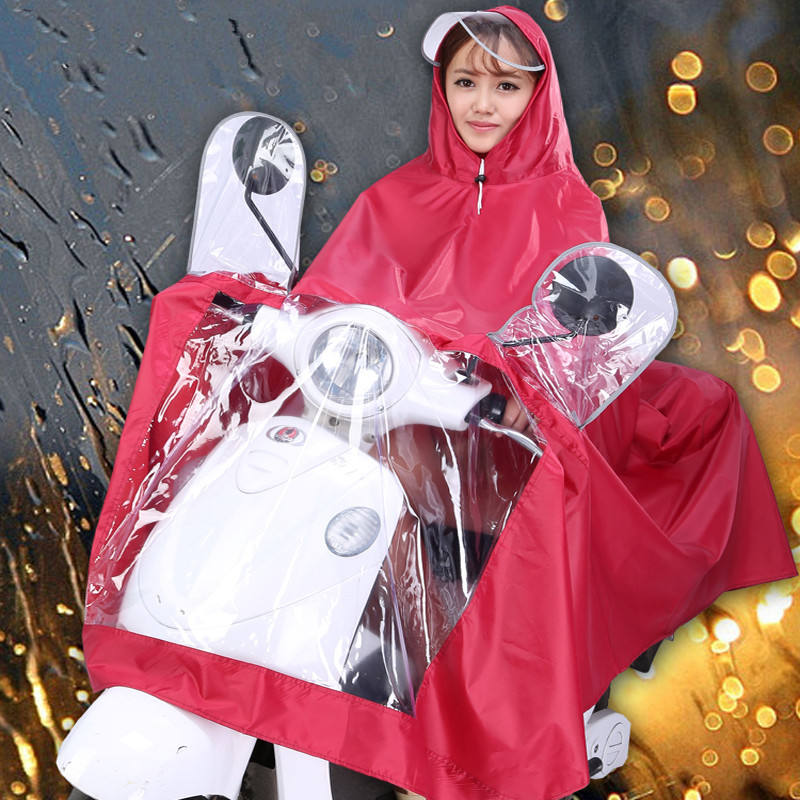 wholesale Motorcycle PVC Polyester Long poncho rain coat with cap