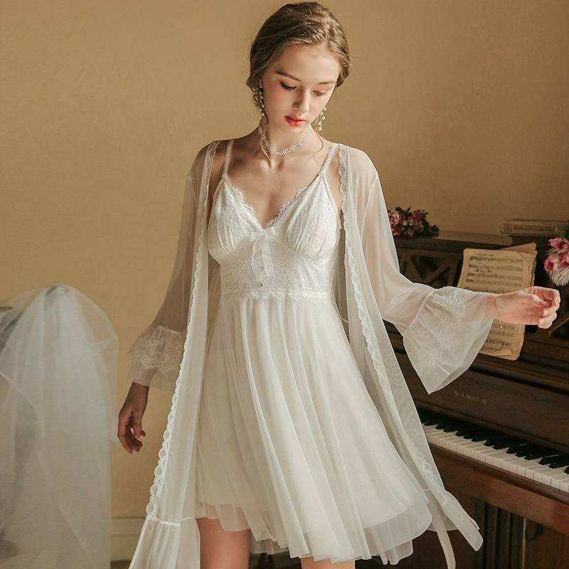 Sexy Night Dress Two Piece Sets Women's Plus Size White Robe Sets Wholesale Lace Cotton Sleepwear Nighty Girls Cosy Home Wear