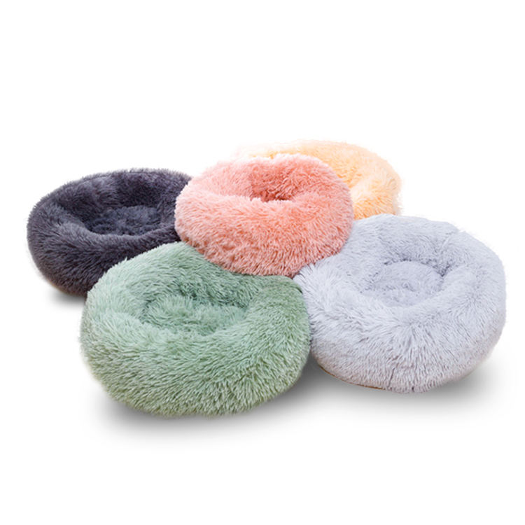 Solid Color [ Pet Luxury ] Cheap Large Fluffy Pet Dog Beds Wholesale Donut Plush Luxury Cat Pet Dog Sofa Bed