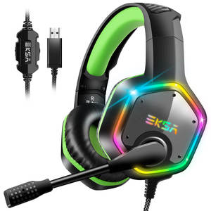 EKSA E1000 7.1 Virtual Surround Head set Gaming Color LED Light Gamer Headphones With Super Bass ANC Mic For PC PS4 Gray Green