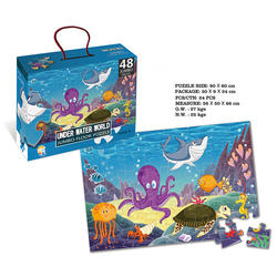 China Toy Supplier Undersea Theme Puzzle Bag 48 PCS Floor Puzzle-Under Water World