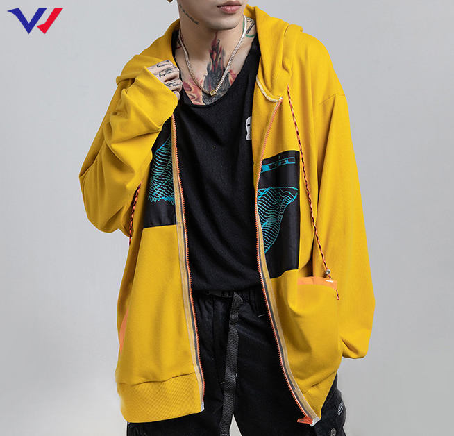 2020 Hot sale wholesale men autumn spring long sleeve yellow custom print casual loose full zip up hoodie with hood