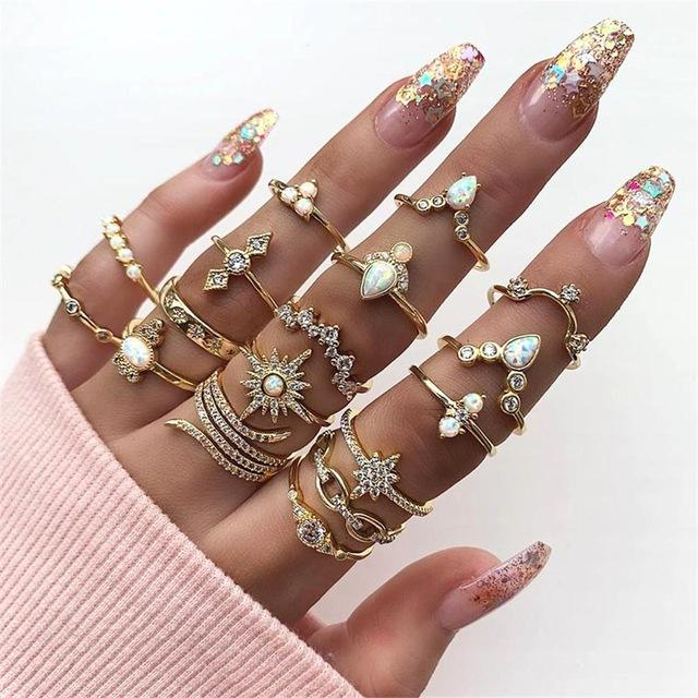 12 Pcs/Set Bohemian Vintage Crown Water Drops Stars Geometric Adjustable Crystal Ring Set Women Party Wedding Jewelry Gift