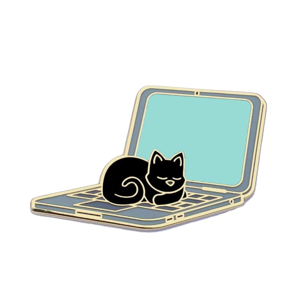 Creative design custom fold computer lapel pin badge metal interactive keyboard Cat Sleeping on laptop enamel pin