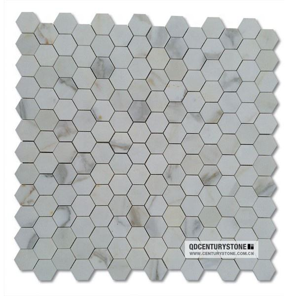 Polished Calacatta Gold White Marble Hexagon Floor Mosaic Tile Hexagon Shaped Tiles