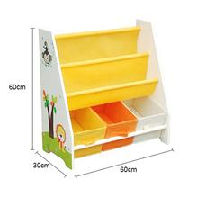 High quality kids wooden canvas bookcase pocket magazine bookshelf