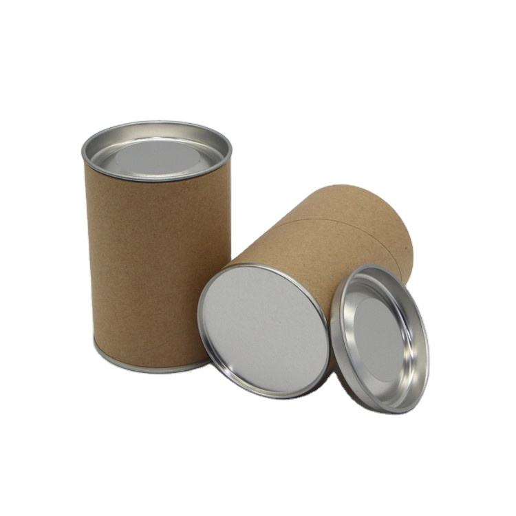 Cylinder Paper Tea Packaging Cans Aluminum Foil Liner with Metal Lid Stucked Cardboard Top