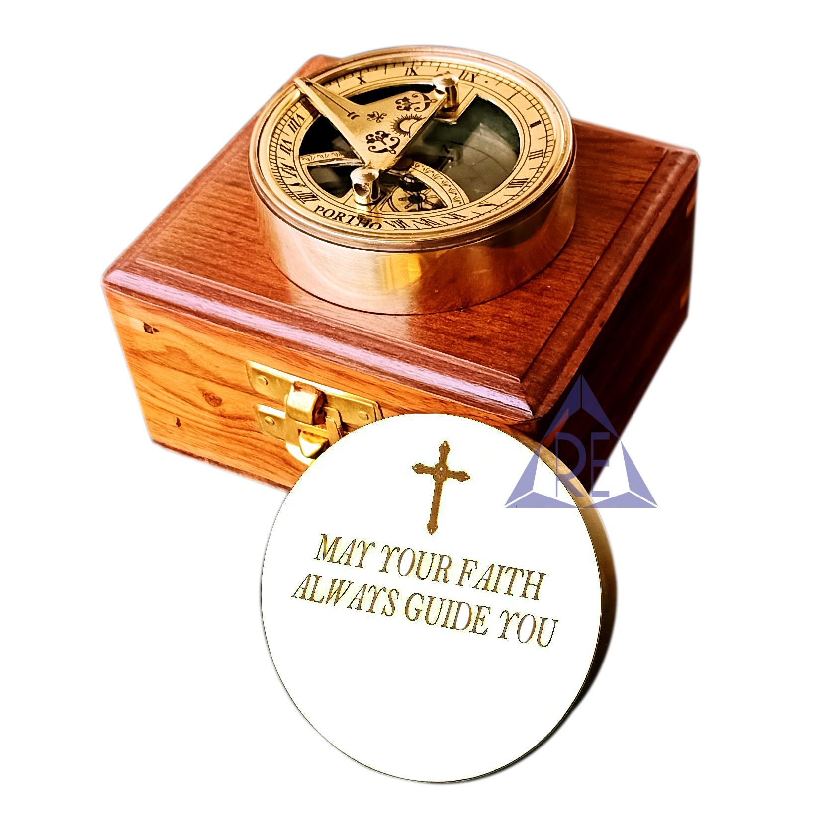 Nautical Brass Sundial Compass Vintage Engrave Compass With Wood Box Office Decor
