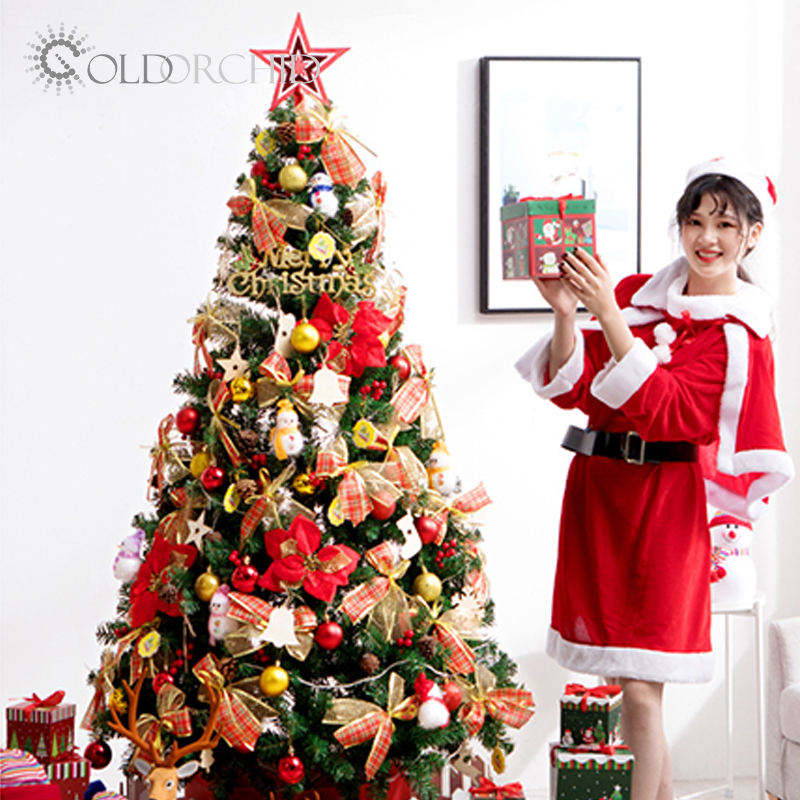 Large 1.8m Christmas tree with ornaments PVC artificial christmas tree