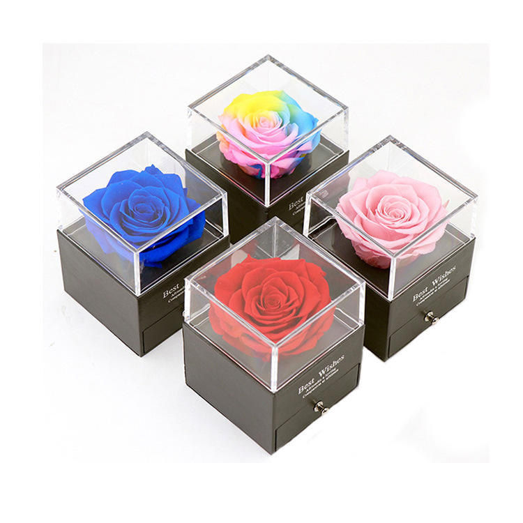 New Desgin 2021 Most Popular Preserved Rose Acrylic Jewelry Box WithネックレスHolder Immortal Flowers ValentineのDayギフト