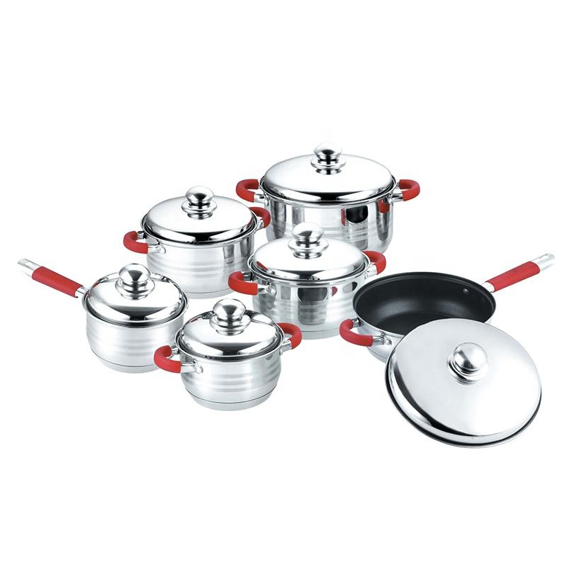 12pcs stainless steel silicone handle kitchen ware cooking pot non stick frying pan Casseroles cookware set