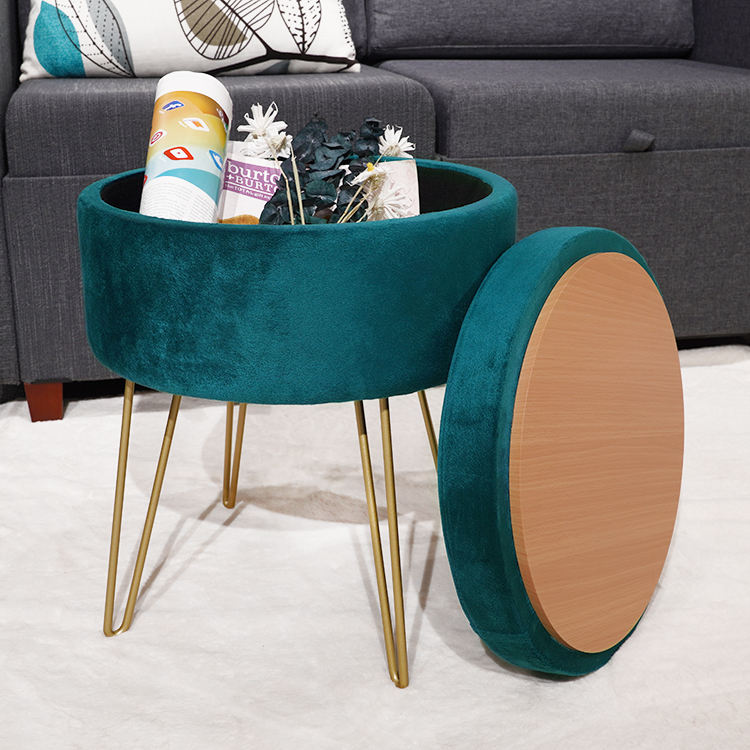 Custom living room furniture round pouf modern velvet storage cloud ottoman fabric stool with metal legs and coffee table
