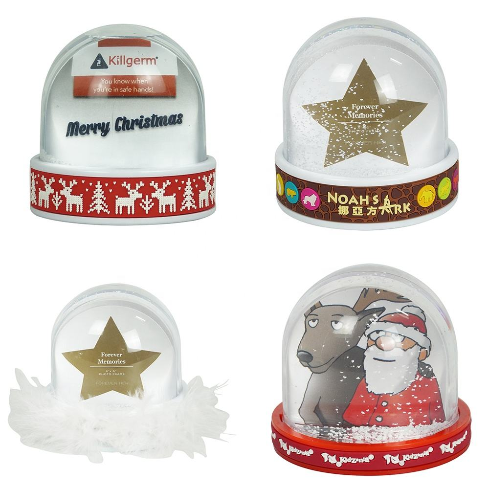 One-Stop Service Snow Globe Wholesale New Personalized Design Acrylic Water Ball Picture Inserted Snow Globe With Plastic Dome