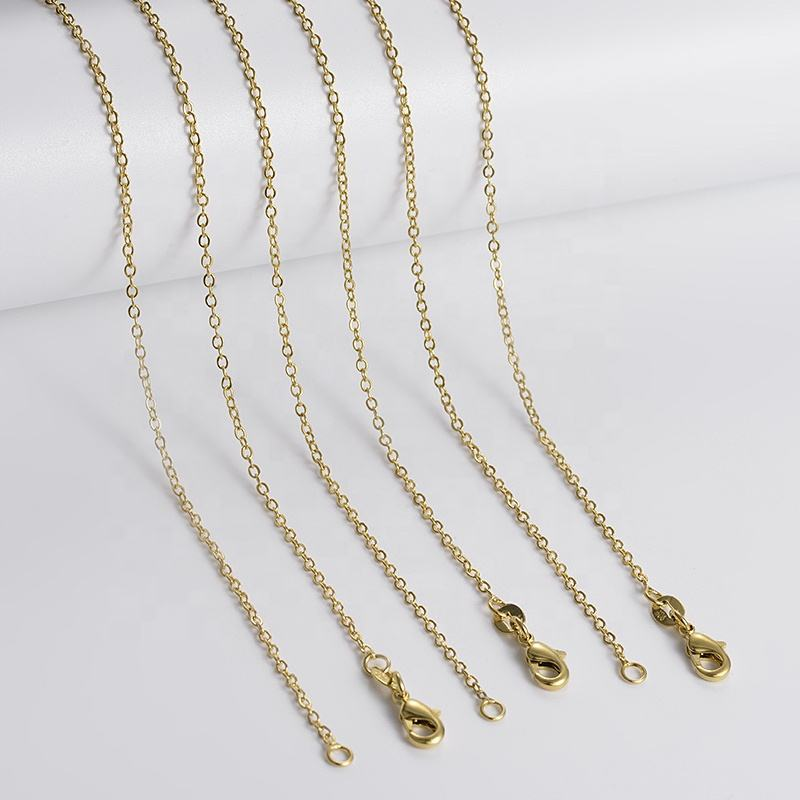 18k Gold or Rhodium Plated Brass Necklace Chain for Women and Girls