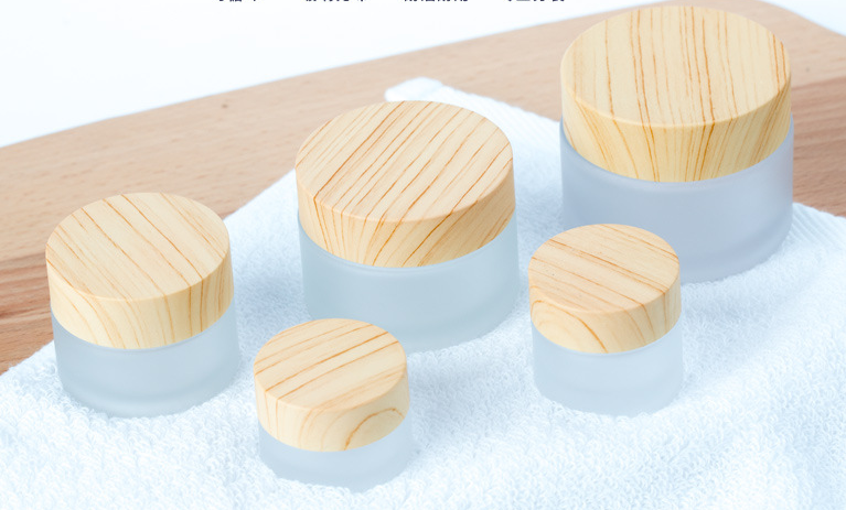 Little Jars High Quality Glass Cream Jar Eye Cream Bottle With Wood Pattern Lid