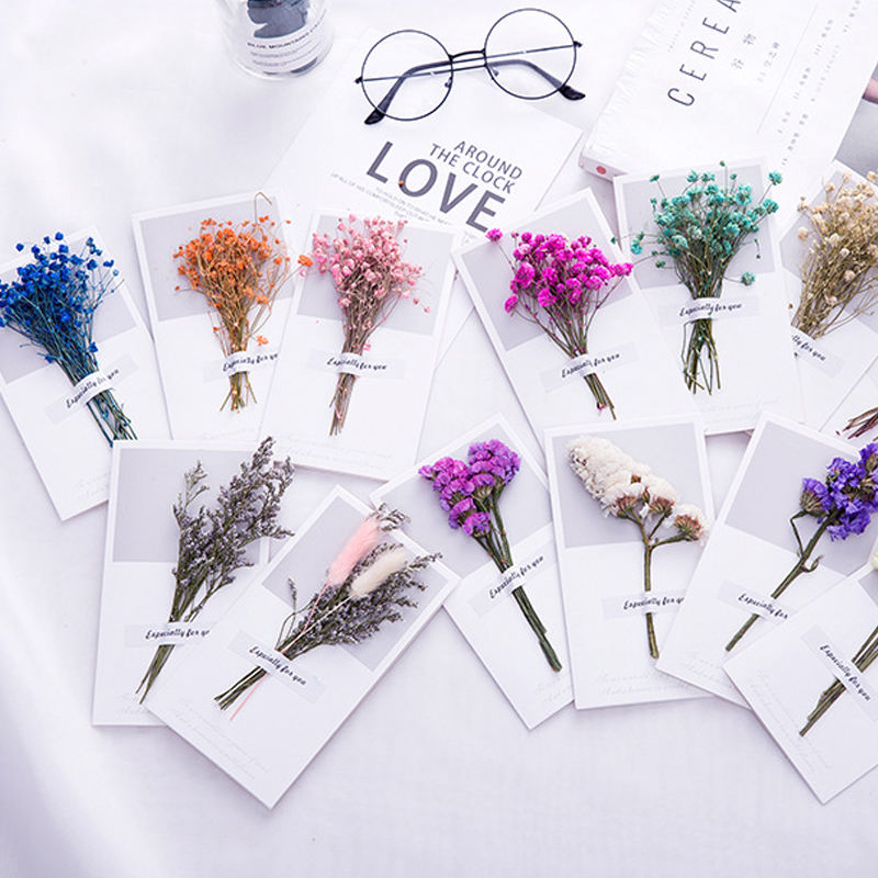 10pcs Gypsophila Dried Flowers Handwritten Blessing Greeting Card Birthday Gift Card Wedding Invitations Use Celebration Party