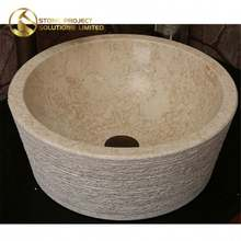 Competitive Price Round Washing Bowl Beige Marble Stone Bathroom Sink Bowls For Hotel Project