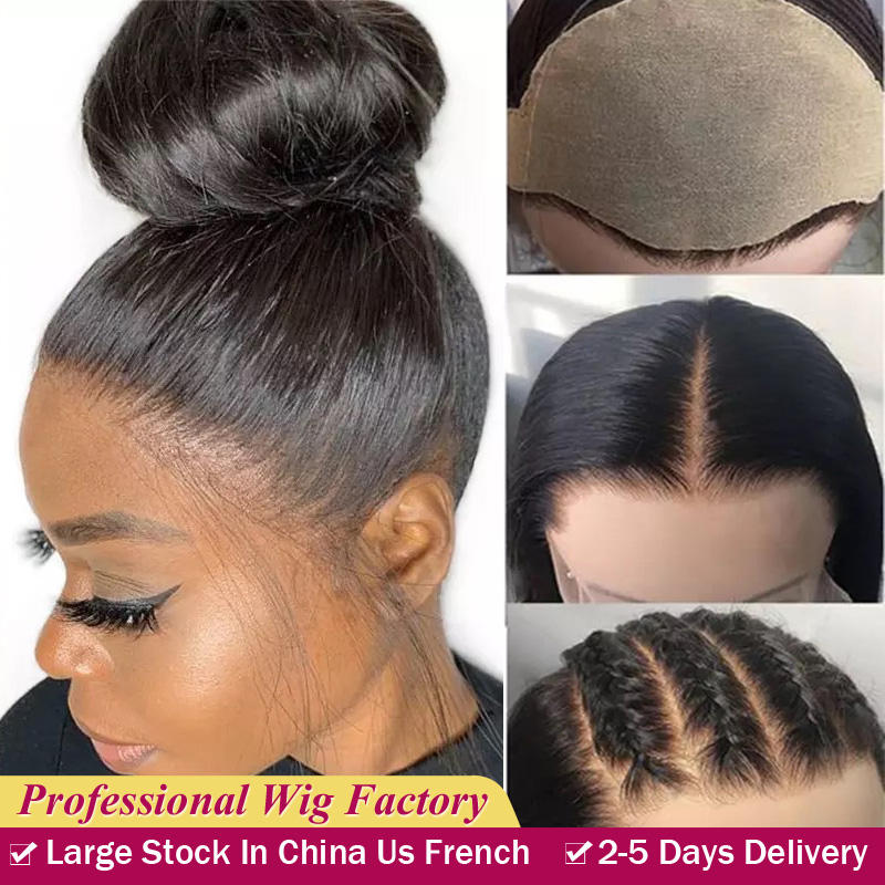 Wholesale Fake Scalp 13x6 Pre Plucked Lace Wig Peruvian Long Straight Can Be Curled Full Lace Human Hair Front Wigs With Straps